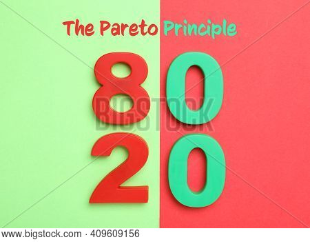 Numbers 80 And 20 On Color Background, Flat Lay. Pareto Principle Concept
