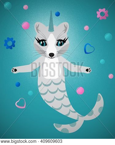 Unihorn Fox Mermaid with Floating Hearts Flowers and Bubbles with Clipping Path over Blue Water Colored Background