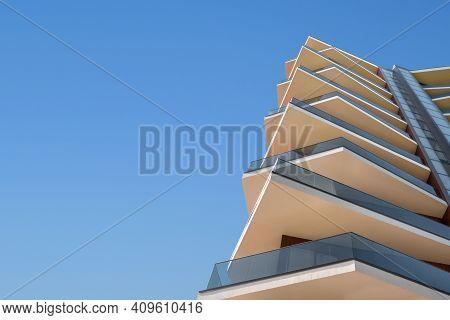 Concrete Modern Organic Building Facade Hotel Architecture Property Copy Space. Unusual Contemporary