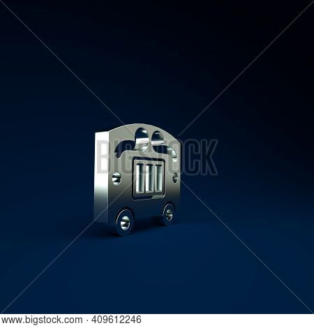 Silver Circus Wagon Icon Isolated On Blue Background. Circus Trailer, Wagon Wheel. Minimalism Concep