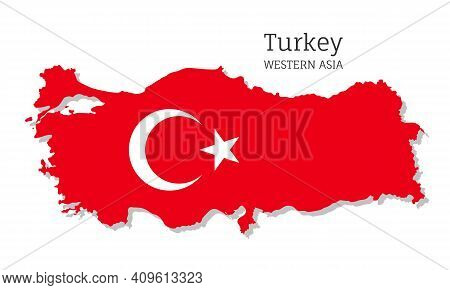 Map Of Turkey With National Flag. Highly Detailed Editable Map Of Turkey, Western Asia Country Terri