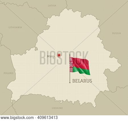 Highly Detailed Map Of Belarus Territory Borders, East European Country Administrative Map With Mins