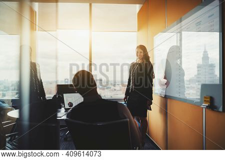 A Conference Meeting In A Board Room Of A Luxurious Office On The Top Floor Of A Business Skyscraper