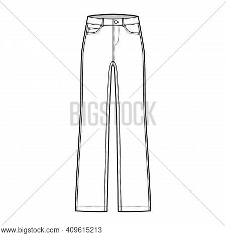 Straight Jeans Denim Pants Technical Fashion Illustration With Full Length, Low Waist, Rise, 5 Pocke