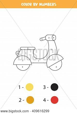Color Cartoon Moped By Numbers. Transportation Worksheet.