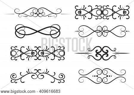 Abstract Forged Patterns For Decorative Design. Seamless Vector Floral Border Design. Vintage Damask