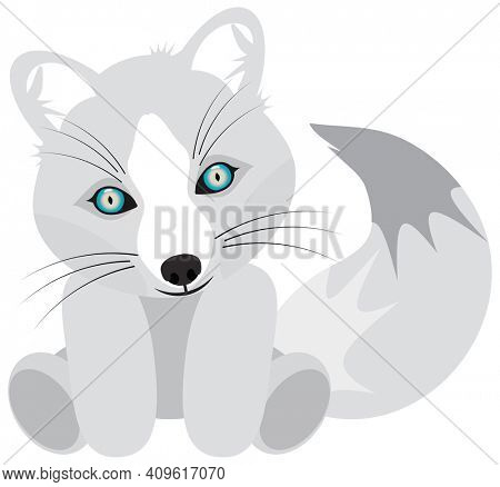 Baby White Artic Fox Stuffed Animal with Blue Eyes and Big Tail. Clipping Path on White Background.