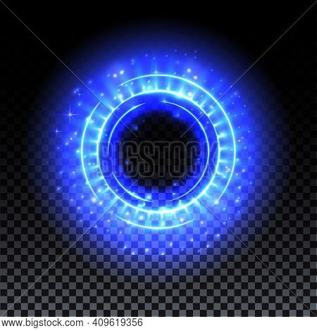 Blue Hologram Portal. Magic Fantasy Portal. Magic Circle With Halo Effect. Vector Blue Glow Scifi Te