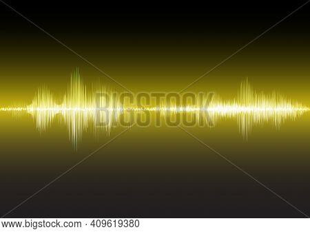 Yellow Sound Waves Glow Light, Stock Vector