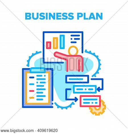 Business Plan Vector Icon Concept. Business Plan And Development Working Process, Presentation Growt