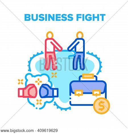 Business Fight Vector Icon Concept. Business Fight And Conflict Between Colleagues, Businessmen Figh