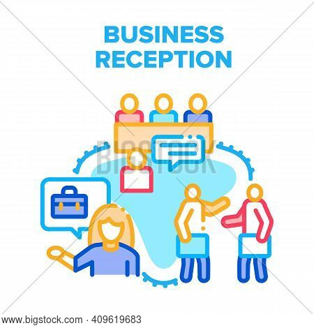 Business Reception Office Vector Icon Concept. Business Reception For Consulting And Communication W