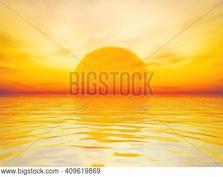 A beautiful golden sunset over the ocean background. 3D illustration