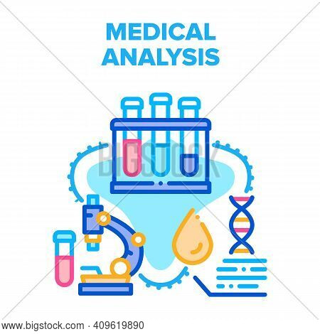 Medical Analysis Vector Icon Concept. Laboratory Flasks And Microscope For Researching And Testing A
