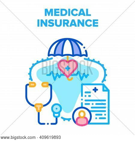 Medical Health Insurance Vector Icon Concept. Medical Insurance Patient Document For Medicine Examin