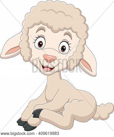 Vector Illustration Of Cartoon Funny Baby Lamb Sitting