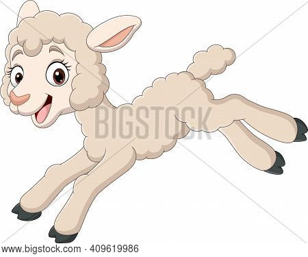 Cartoon Baby Lamb Jumping On White Background