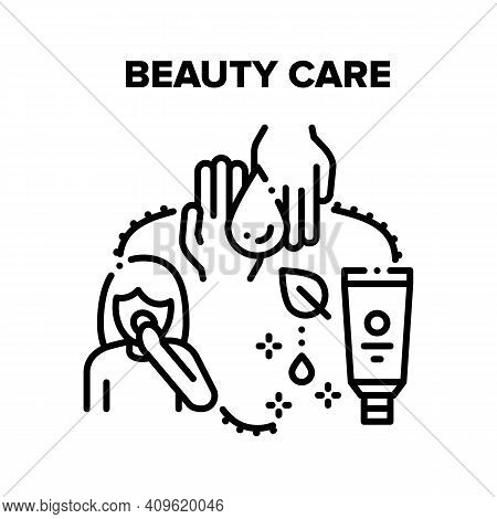 Beauty Care Vector Icon Concept. Beauty Care Cosmetics, Moisturizing Facial Cream And For Hands, Cle