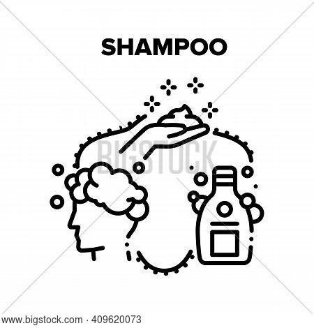 Shampoo Product Vector Icon Concept. Human Applying Shampoo And Washing Hair And Body In Shower. Hyg