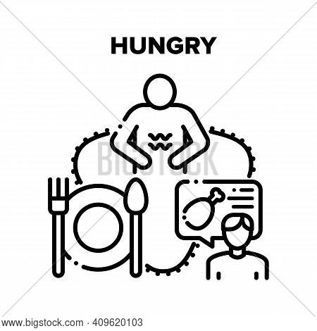 Hungry Human Vector Icon Concept. Hungry Man With Empty Stomach Think About Food, And Person Orderin