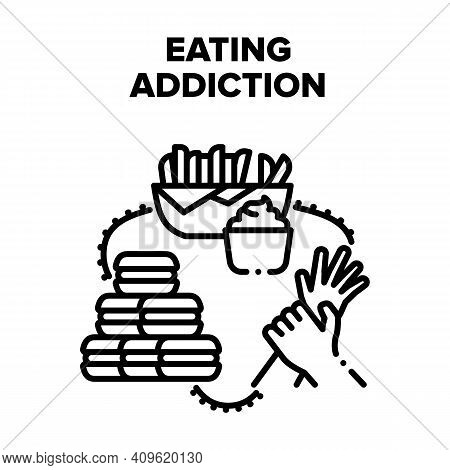 Eating Addiction Vector Icon Concept. Eating Addiction For Fat Fast Food And Sugary Dessert. Potato