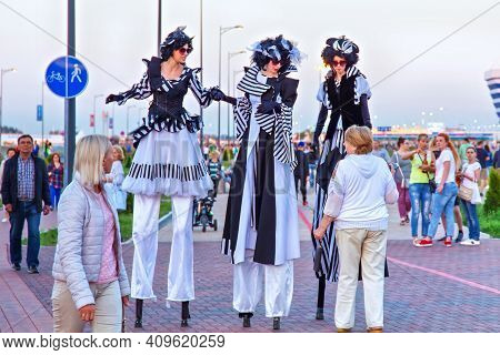 Kaliningrad, Russia - June 16, 2018: Performers On The Stilts Entertain The Audience On The Days Of