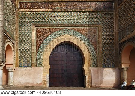 Meknes, Morocco - June 01, 2017: Bab Mansour Gate In Meknes (the Gate Finished In 1732). Meknes Is O