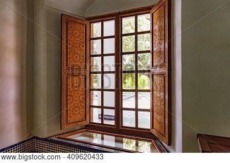 Fez, Morocco - June 02, 2017: Wooden Window In The Dar Batha. The Former Royal Palace, Was Built By