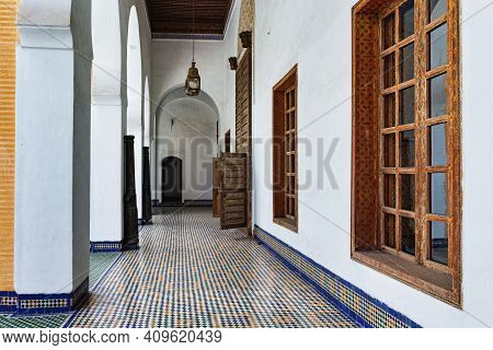 Fez, Morocco - June 02, 2017: Side Gallery In The Dar Batha. The Former Royal Palace Was Built By Th