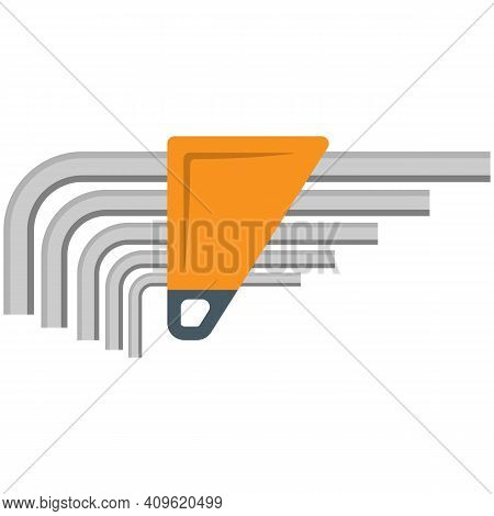 Allen Wrench Hex Key Icon Flat Vector Isolated On White