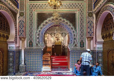 Fez, Morocco - June 02, 2017: View Of The Famous Zawiya Of Moulay Idris Ii (contains The Tomb Of Idr