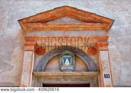 Bergamo, Italy - May 22, 2019: Details Of The Roman Catholic Church In Monastery San Benedetto (dedi