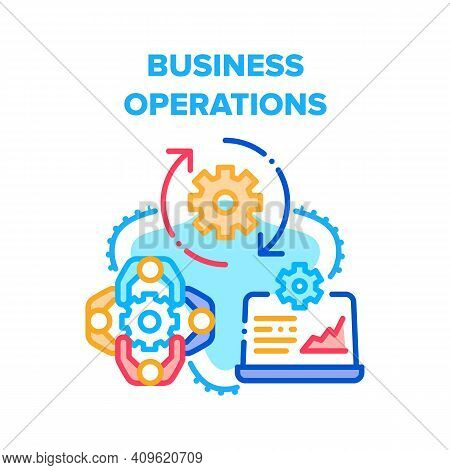 Business Operations Process Vector Icon Concept. Brainstorming And Meeting Colleagues Or Partners, P