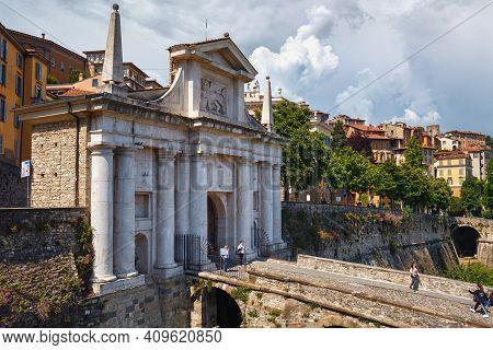 Bergamo, Italy - May 22, 2019: View Of The Porta San Giacomo Gate In Bergamo. Its Gate, Leading Thro