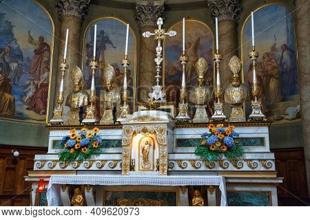 Bergamo, Italy - May 22, 2019: Details Of The Main Altar In The Neoclassic Sant'andrea Church In Ber