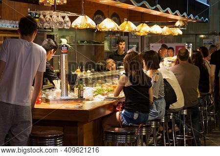 Barcelona, Spain - May 16, 2017: View Of The Bar On The Territory Of The Famous La Boqueria Market I