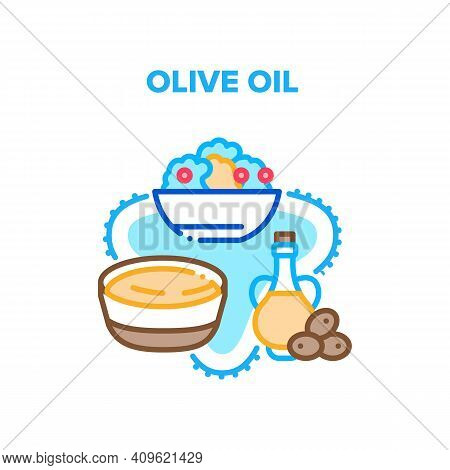 Olive Oil Natural Ingredient Vector Icon Concept. Graffin Decanter For Storaging Olive Oil And Natur