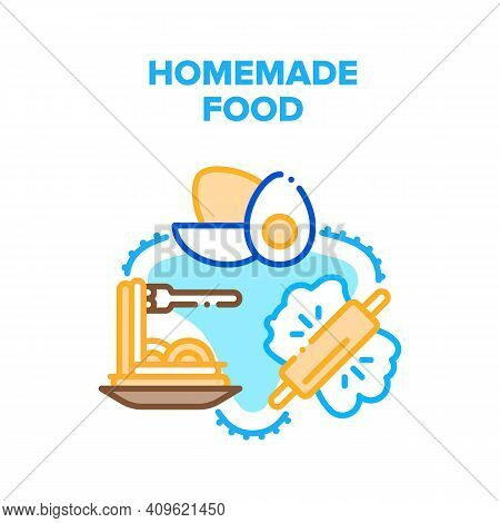 Homemade Food Vector Icon Concept. Homemade Spaghetti Cooking From Dough And Natural Eggs Ingredient