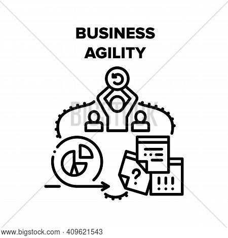 Business Agility Vector Icon Concept. Business Agility In Communication And Meeting With Partners, D