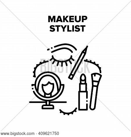 Makeup Stylist Vector Icon Concept. Professional Makeup Stylist Treatment In Beauty Salon. Brush And