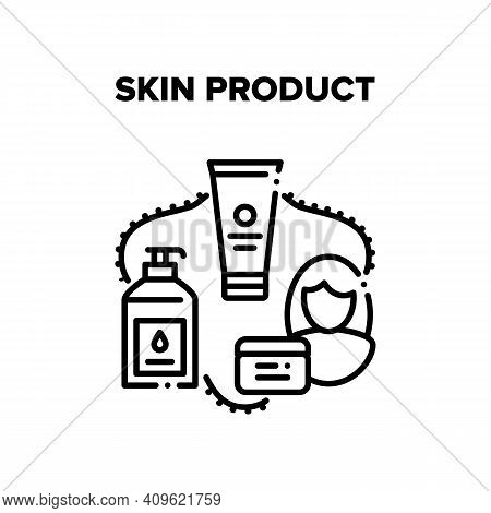 Skin Product Vector Icon Concept. Cream Tube, Lotion Bottle With Pump And Scrub Container Skin Produ