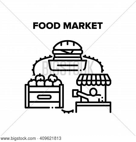 Food Market Vector Icon Concept. Food Market Counter And Tent, Delicious Fresh Fruit Package And Bur