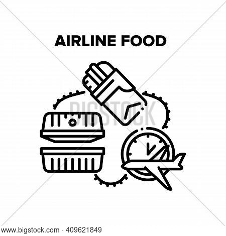 Airline Food Vector Icon Concept. Sandwich Or Burger Snack, Nutrition Container For Eating Airline F