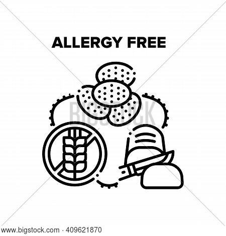 Allergy Free Healthy Food Vector Icon Concept. Gluten Allergy Free Ingredient Baked Bread And Delici