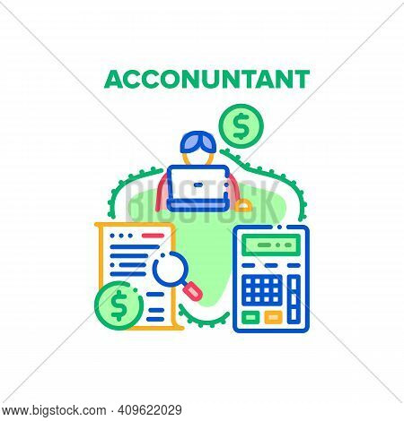 Accountant Work Vector Icon Concept. Accountant Worker Using Calculator For For Calculate Finance Mo