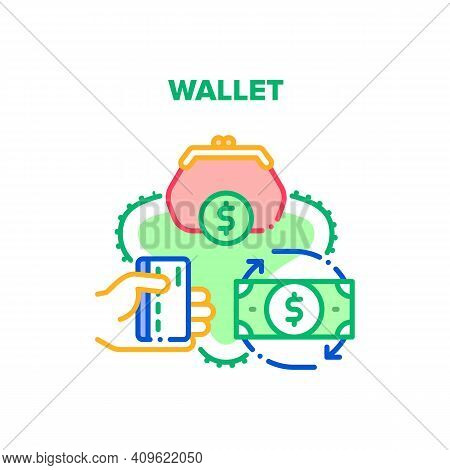 Wallet With Cash Vector Icon Concept. Wallet Accessory For Storaging Money Banknotes And Credit Card