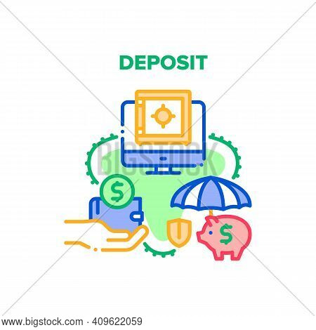 Deposit Finance Vector Icon Concept. Deposit Bank Service For Saving And Earning Money, Piggy Moneyb