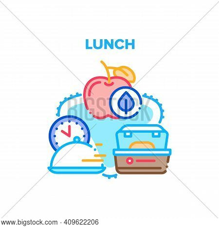 Lunch Dish Food Vector Icon Concept. Lunch Delicious And Natural Eco Fruit Apple, Fast Delivering Di