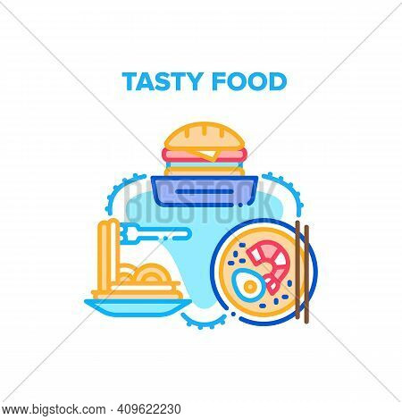 Tasty Food Meal Vector Icon Concept. Burger Sandwich, Spaghetti Plate And Fresh Cooked From Seafood