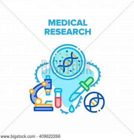 Medical Research Vector Icon Concept. Medical Research Molecular Laboratory Analysis And Examination
